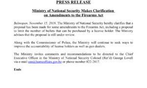 Nov 15 - Ministry of National Security Makes Clarification on Amendments to the Firearms Act-1