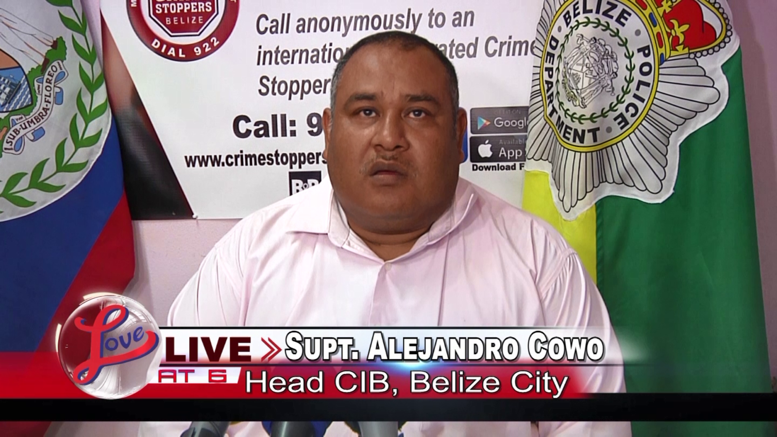 Superintendent Alejandro Cowo, Head of Crimes Investigation Branch, Belize City