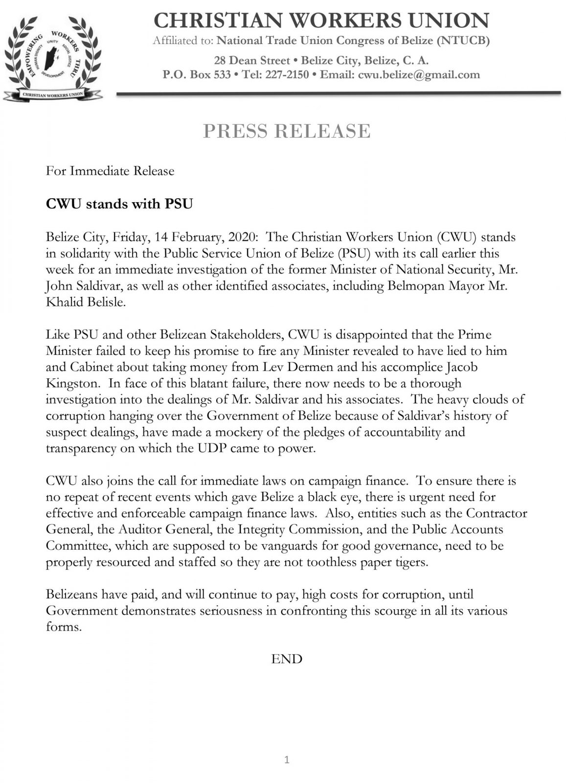 CWU Press Release  CWU stands with PSU