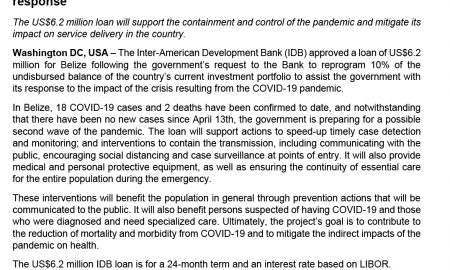 IDB approves loan to support Belize's COVID-19 immediate health response