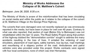 June 26 - Ministry of Works Addresses the Collapse of St Matthews Culvert-1