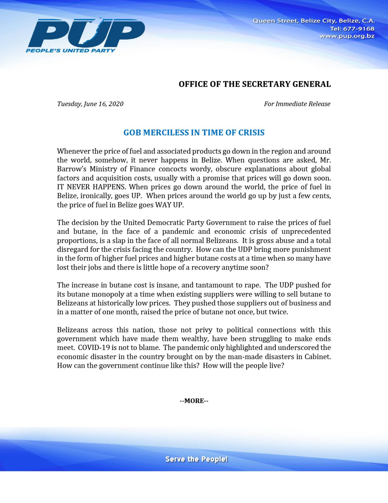 PRESS RELEASE - GOB MERCILESS IN TIME OF CRISIS-1