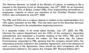 July 21 - Attorney General to File Request for Injunction to Stall Implementation of Redundancy at Port of Belize Limited