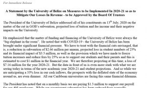 PR - A Statement by the UB on Measures to be Implemented in 2020-21 so as to Mitigate Our Losses In Revenue - To Be Approved by the Board Of Trustees-1